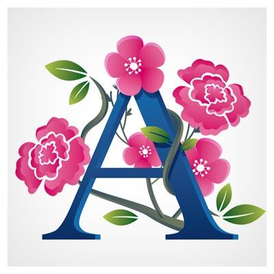 دانلود وکتور پس زمینه حرف A با تزئین گلهای رنگی