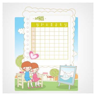 فایل وکتوری پس زمینه کودکانه با طرح برنامه هفتگی (eps و ai)