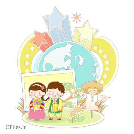 وکتور لایه باز بکگراند کودکانه با المان های مترسک ، بچه های چینی ، کره زمین