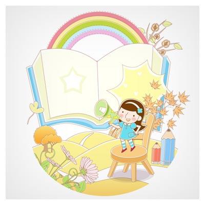 وکتور پس زمینه دختر بچه ، مدرسه و کتاب بصورت لایه باز (eps و ai)