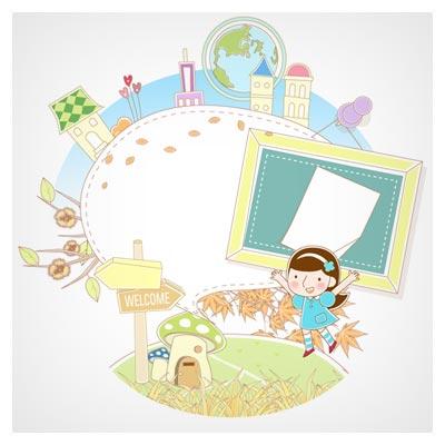 طرح پس زمینه فانتزی و کودکانه با المان های شهری (eps و ai)