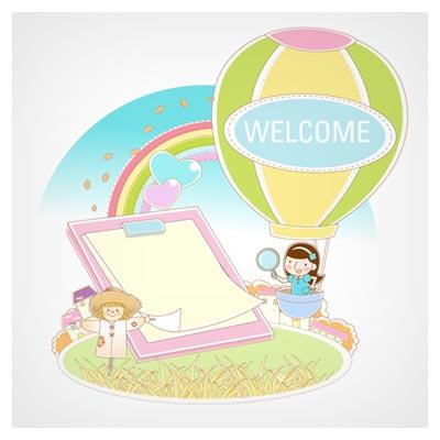 وکتور پس زمینه کودکانه با طرح بالون ، دختر بچه ، مترسک و رنگین کمان