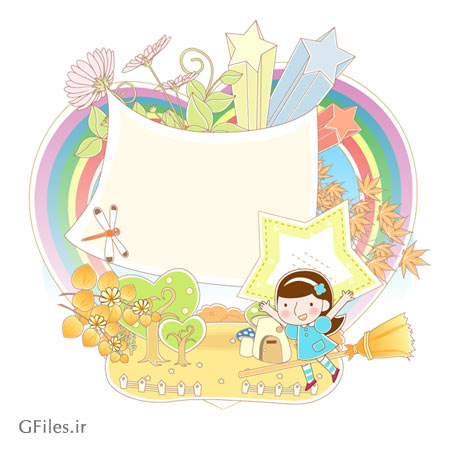 طرح پس زمینه پاییزی و کودکانه کارتونی با دو پسوند eps و ai