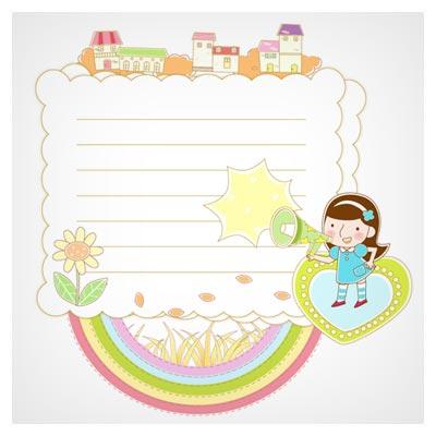 وکتور بکگراند کودکانه و کارتونی با طرح یادداشت (لایه باز با دو پسوند eps و ai)