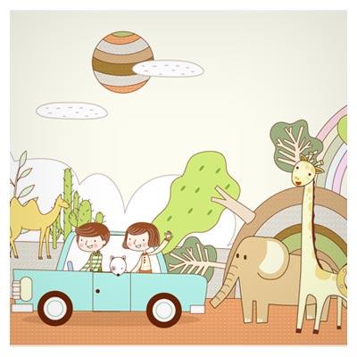فایل کارتونی سفر به باغ وحش با ماشین بصورت کارتونی (پس زمینه کودکانه)