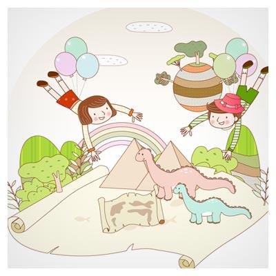 وکتور پس زمینه بچه ها ، نقشه گنج ، عصر دایناسورها بصورت لایه باز