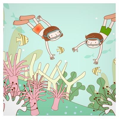 وکتور کارتونی و کودکانه سفر به اعماق دریا (جستجوی علمی دریایی) بصورت لایه باز