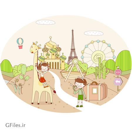 وکتور لایه باز سفر به شهرهای مختلف (پس زمینه کارتونی و کودکانه)