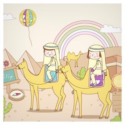 وکتور پس زمینه کارتونی و کودکانه سفر با شتر به شهرهای عربی