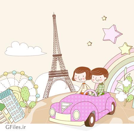 فایل وکتوری لایه باز پس زمینه سفر با خودرو به شهرهای مختلف جهان