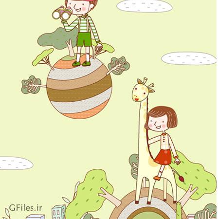 بکگراند کارتونی و کودکانه ، ارائه شده با دو پسوند eps و ai