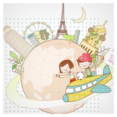 وکتور کارتونی لایه باز و کودکانه با موضوع سفر به دور دنیا با هواپیما