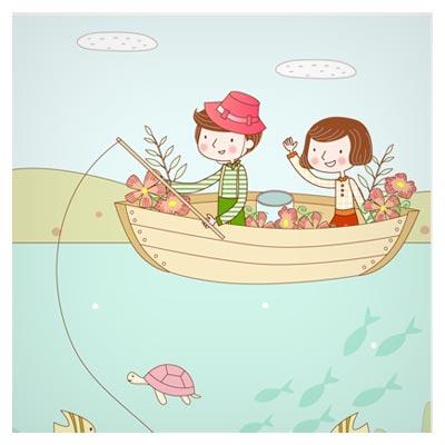 وکتور کارتونی و لایه باز ماهیگیری در قایق (پس زمینه کودکانه با دو پسوند eps و ai)