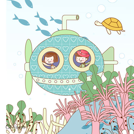 وکتور بکگراند لایه باز و کودکانه با موضوع سفر به اقیانوس با زیر دریایی