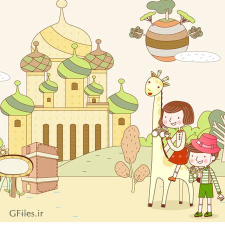 طرح لایه باز پس زمینه کارتونی کودکانه با موضوع توریست و گردشگری