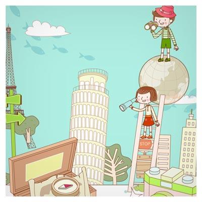 طرح برداری (وکتور) لایه باز پس زمینه کارتونی و کودکانه با موضوع گردش به شهرهای مختلف جهان