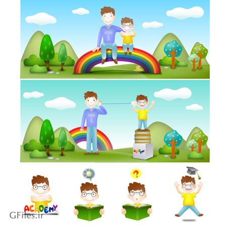 دانلود طرح پس زمینه کارتونی و کودکانه با گرافیک جذاب (ai و eps)