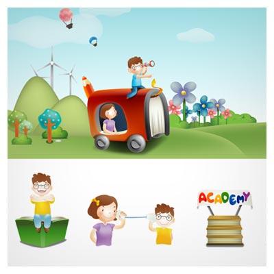 طرح پس زمینه درس و مدرسه بصورت کارتونی با المان های کودکانه