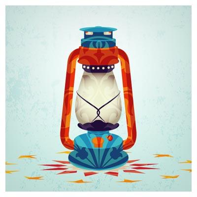 طرح پوستر ماه رمضان با المان فانوس و چراغ گرد سوز قدیمی