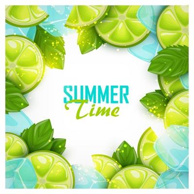 پس زمینه فانتزی تابستانی با طرح لیموناد (لیمو) با دو پسوند eps و ai