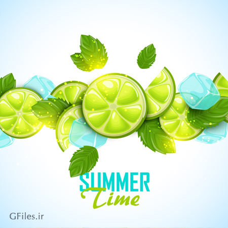 وکتور پس زمینه لایه باز تابستانی با المان لیمو (Lime Summer Background)
