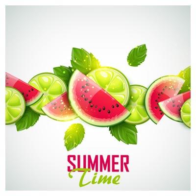 وکتور بنر و پس زمینه میوه های تابستانه (لیمو و هندوانه)