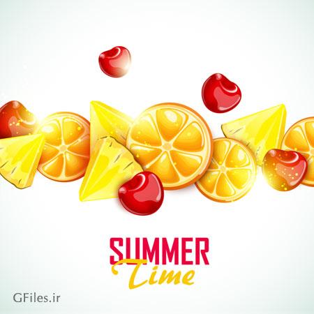 دانلود طرح بنر وکتوری با المان میوه های تابستانی (پرتقال ، گیلاس و اناناس)