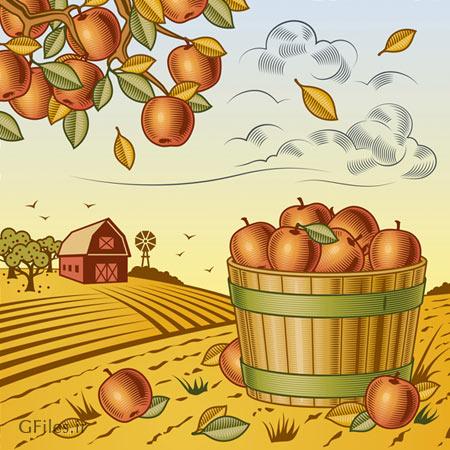 دانلود پس زمینه وکتوری مزرعه سیب بصورت گرافیکی و لایه باز