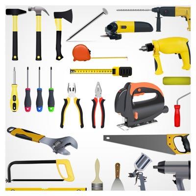 فایل لایه باز وکتور مجموعه ابزارهای مختلف صنعتی ، ارائه شده با دو پسوند eps و ai