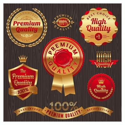 دانلود وکتور مجموعه لیبل و سمبل های کیفیت (Quality Label)