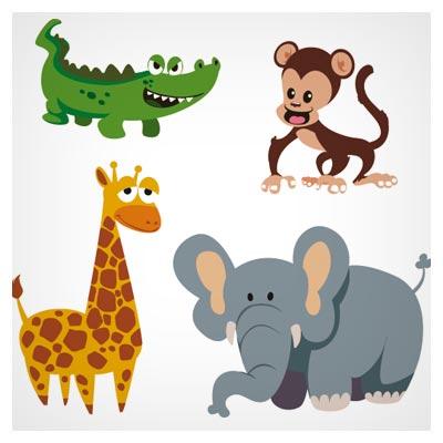 دانلود وکتور مجموعه حیوانات مختلف فیل ، زرافه ، تمساح ، میمون ، شیر و اسب آبی