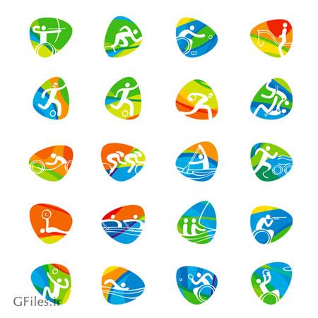 وکتور مجموعه آیکون های متنوع ورزشی مناسب برای طراحی بازی ورزشی