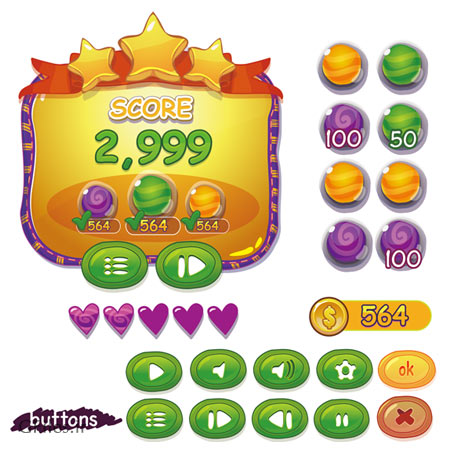 وکتور مجموعه المان های بازی شامل کلید (دکمه بازی) و اسکرین امتیازات ، ارائه شده با فرمت های eps و ai
