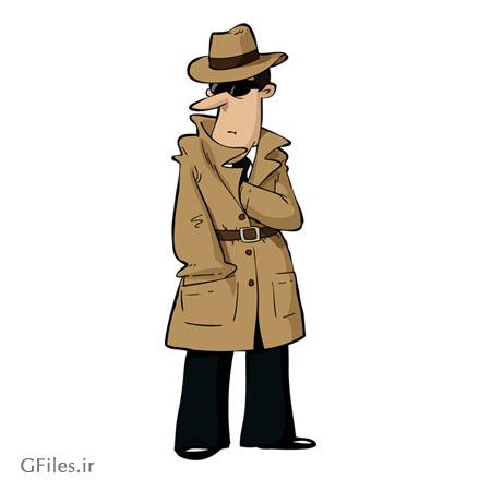 کاراکتر کارتونی کارآگاه و بازپرس ، ارائه شده با فرمت های وکتوری eps و ai