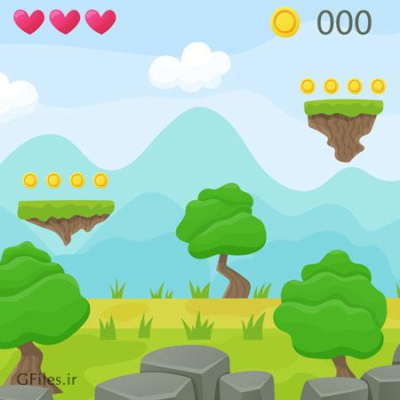 بکگراند لایه باز مناسب برای طراحی بازی (Game Platform Ui)