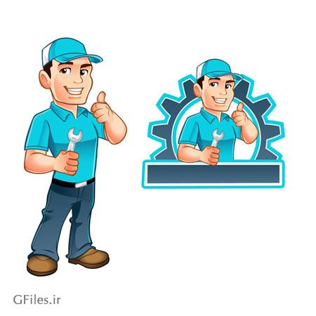 وکتور شخصیت کارتونی مرد تعمیرکار (کاراکتر تعمیرکار خودرو) با دو فرمت eps و ai