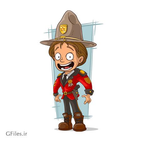 وکتور کارتونی پلیس آمریکایی (کابوی) بصورت لایه باز