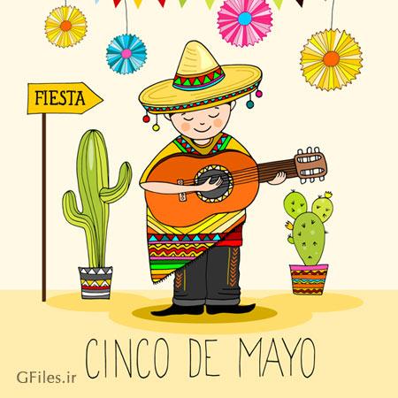 وکتور لایه باز کاراکتر (شخصیت کارتونی) پسر مکزیکی گیتار زن