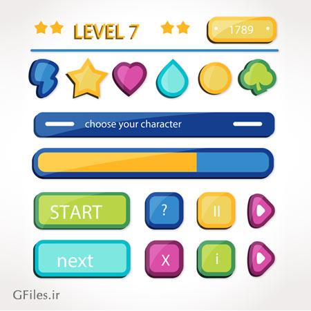 دانلود وکتور مجموعه کلید و Process bar بازی با رنگ های شاد