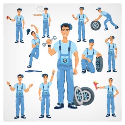 مجموعه کامل وکتور کاراکترهای متنوع مرد تعمیرکار (تعمیرکار خودرو) با لباس آبی