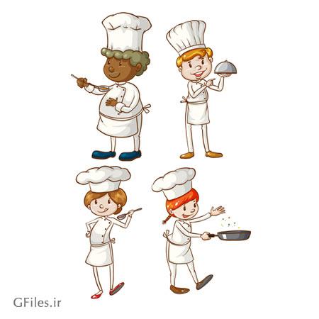 وکتور لایه باز مجموعه کاراکترهای کارتونی آشپز جوان
