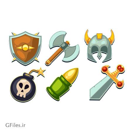 مجموعه وکتور گرز ، فشنگ ، تبر ، سپر ، شمشیر ، بمب و کلاه خود مناسب برای طراحی بازی