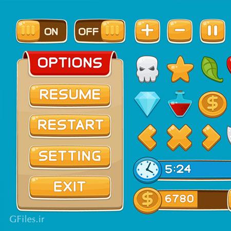 دانلود وکتور منو و مجموعه کلیدهای بازی مناسب برای طراحان بازی موبایل