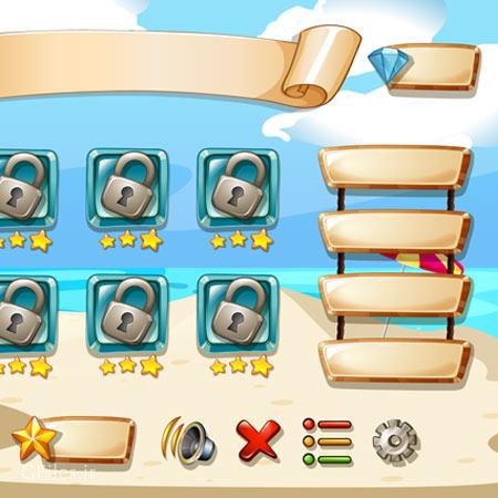 وکتور لایه باز منو ، Level (مراحل بازی) و کلیدهای آماده برای طراحی بازیهای موبایلی
