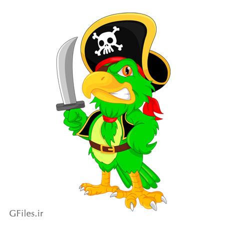 کاراکتر کارتونی طوطی سبز (دزد دریایی) با فرمت های لایه باز eps و ai