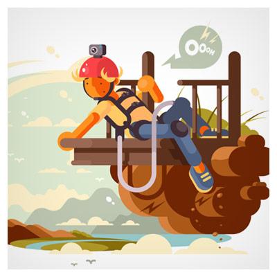 تصویر کارتونی وکتور از مرد بانجی جامپینگ ، ارائه شده با فرمت های eps و ai