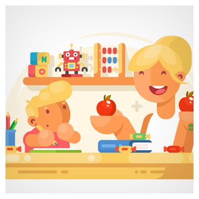 پس زمینه وکتور و کارتونی مادر و پسربچه ، بصورت لایه باز