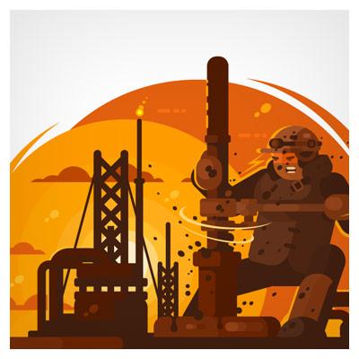 وکتور کارتونی کارگر معدن نفت در حال اکتشاف نفت