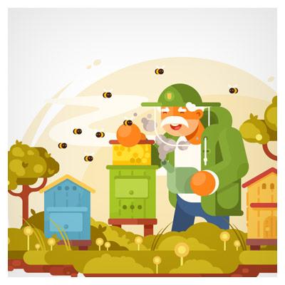 فایل وکتور پس زمینه مرد زنبور دار در حال مراقبت از زنبورها