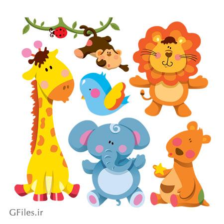 وکتور لایه باز مجموعه حیوانات جنگل شامل شیر ، میمون ، زرافه ، پرنده ، فیل و کانگورو